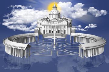 Wall Mural - San Pietro_003 Piazza San Pietro in Città del Vaticano sospesa fra terra e cielo con sullo sfondo il sole fra le nuvole.