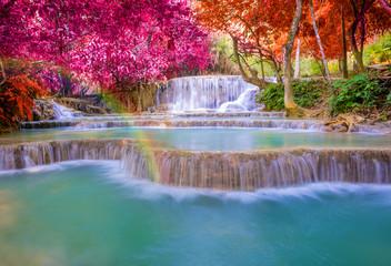 Printed roller blinds Waterfalls Waterfall in rain forest (Tat Kuang Si Waterfalls at Luang praba