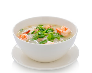 Boiled rice with shrimp on white background
