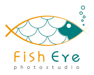 Logo template, grotesque fish-eye lens, flat style fish