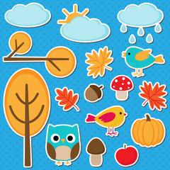 Cute set of autumn elements