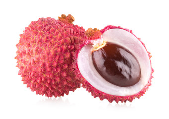 ripe lychee isolated on white background