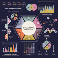 Set of various statistical business infographic elements.