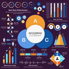 Big set of statistical infographic elements for business.