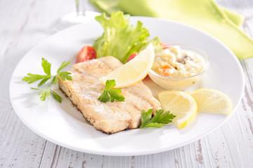 fish,salad and sauce