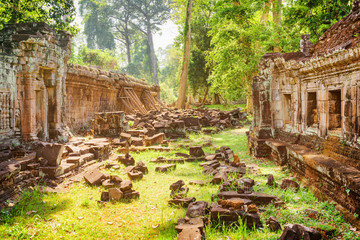 Ruins of ancient Preah Khan temple in Angkor in morning sun