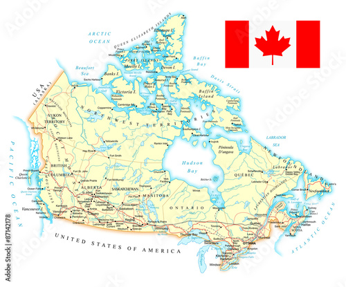 Canada Detailed Map Illustration Map Contains Topographic - Map of canada and united states with cities