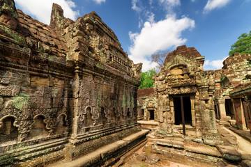 Wall with bas-relief of ancient Preah Khan temple in Angkor