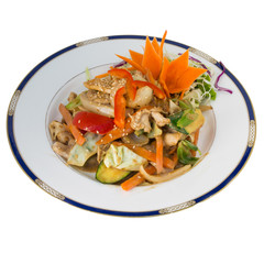 Peanut Sause stir fry with chicken isolated on white