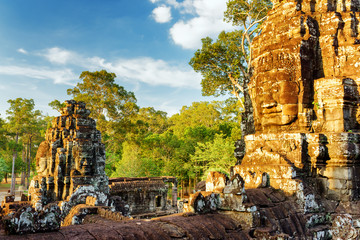 Giant stone face of Bayon temple in Angkor Thom, Cambodia