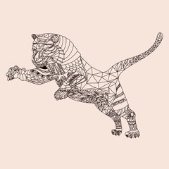 Patterned tiger zentangle style. Good for T-shirt, bag or whatever print. Vector illustration