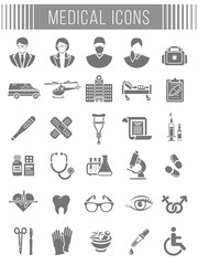 Set of vector flat silhouette icons related to subject of medicine, first aid, patient transportation, health care, insurance, medical treatment, medicines and hospital personnel. Conceptual symbols