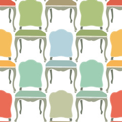 Retro armchairs seamless background