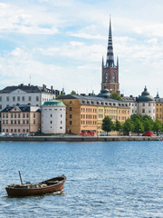 View of the Gamla Stan,The Old Town in Stockholm, Sweden. And floating boat