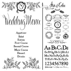 Wedding menu, font set and design elements set