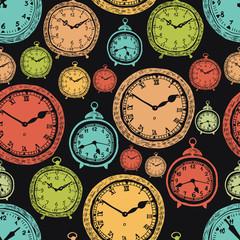 Vintage wall clocks and alarm clocks, seamless background