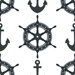 Steering wheel ship and anchor background