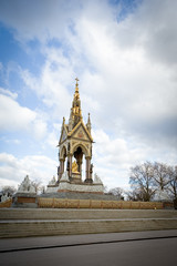 The Albert Memorial, London. A wide view of the  Albert Memorial in London's Kensington Gardens.