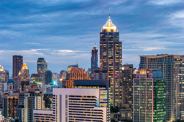 Cityscape Bangkok skyline in sunset time,Thailand