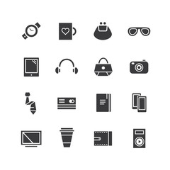 Mobile objects vector icons set. Mobile, electric and technic