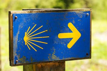 shell sign marks of Camino de Santiago , Galicia, Spain