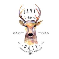 Deer watercolor. Save the date