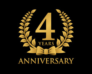 anniversary logo ribbon wreath black background 4