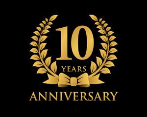anniversary logo ribbon wreath black background 10