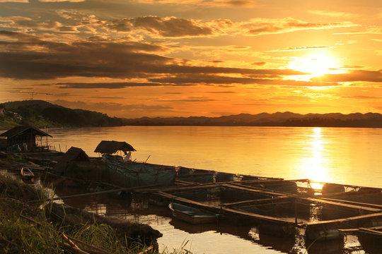 Mae Khong river in the light of sunset, chiang Khan, Thailand