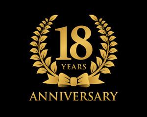 anniversary logo ribbon wreath black background 18
