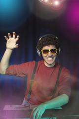 Portrait of cheerful DJ - Playful disc jockey.