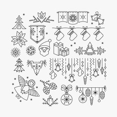 Set of line Christmas icons and decorations