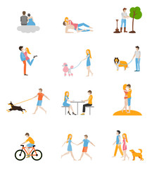 Set of vector images of couples in the flat style. Characters in