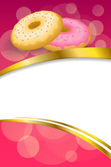 Background abstract pink yellow baked donut glazed ring frame vertical gold ribbon illustration vector