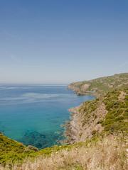 Bosa, Küstenstrasse, Küste, Korallenküste, Mittelmeerküste, Felsenküste, Bucht, Badebucht, Wassersport, Sommer, Insel, Sardinien, Italien