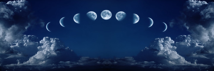 Wall Murals Night Nine phases of the full growth cycle of the moon