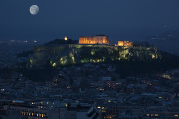 Acropolis in Athens by night