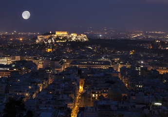 Akropolis by night at full moon