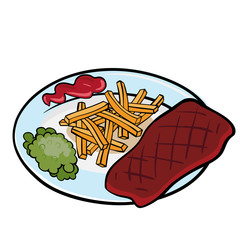 A piece of grilled meat with green peas and tomato sauce on the plate. Vector graphic.