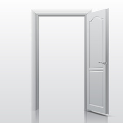 White open door. Vector illustration