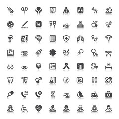 Health flat icons with reflection