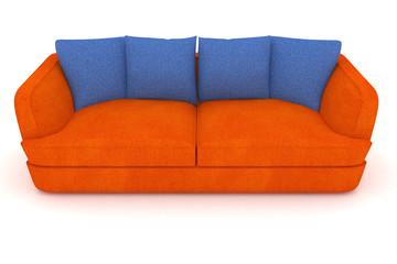 isolated orange sofa with blue cushions.
