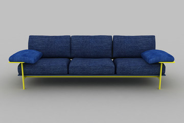 isolated yellow blue sofa.