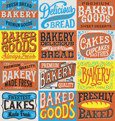 Vintage hand drawn bakery label set.