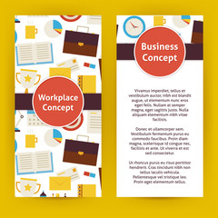 Vector Flyer Template of Flat Design Business Workplace Concept