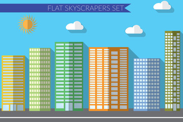 Flat design vector illustration concept for urban landscapes city skyscrapers