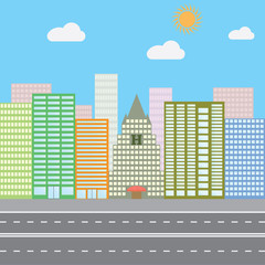 Flat design vector illustration concept for urban landscape city skyscrapers