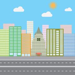 Flat design vector illustration concept for urban landscape city skyscrapers