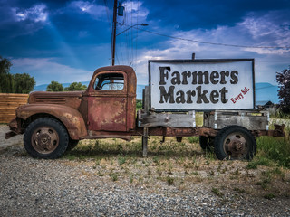 Vintage Truck Farmers Market Sign