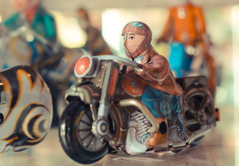 old tin classic motorcycle toy with rider